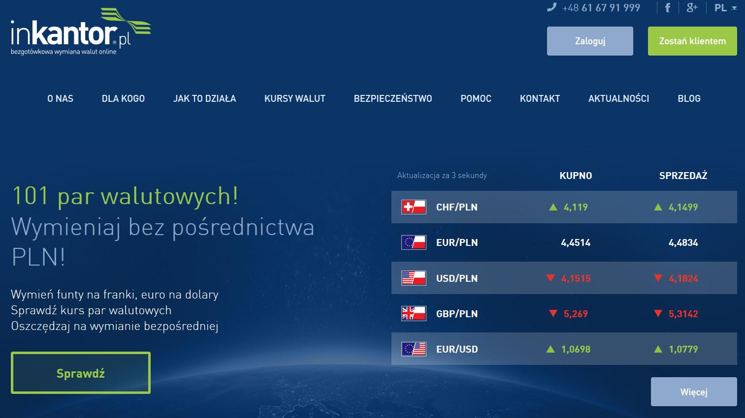 Informacje i opinie o kantorze wymianie walut - InKantor.pl