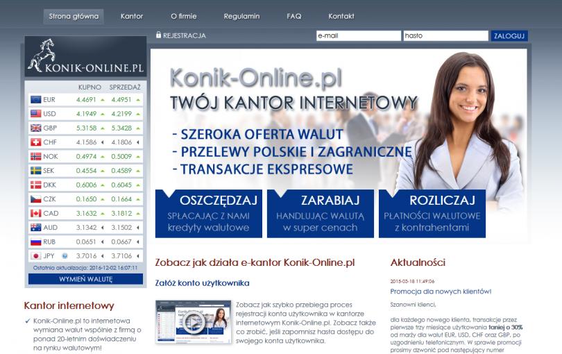 Sprawdź opinie i informacje o kantorze online Konik Online
