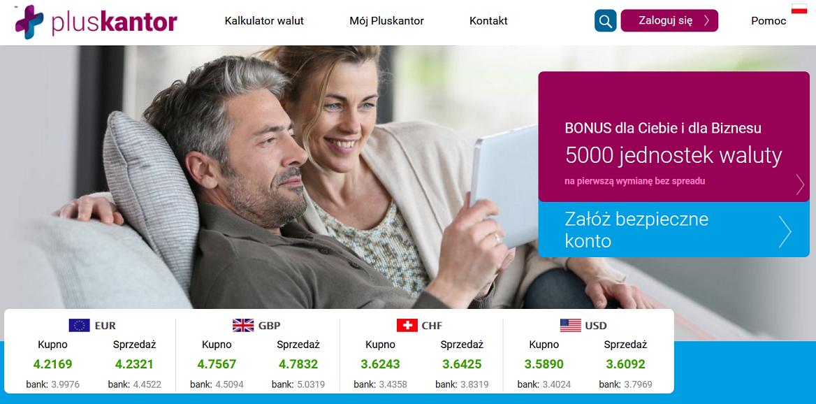 Informacje i opinie o kantorze wymianie walut Plus Kantor