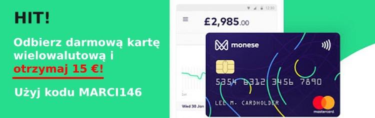 Stwórz całkowicie darmowe konto w Monese, wykonaj jedną płatność kartą i otrzymaj €15!