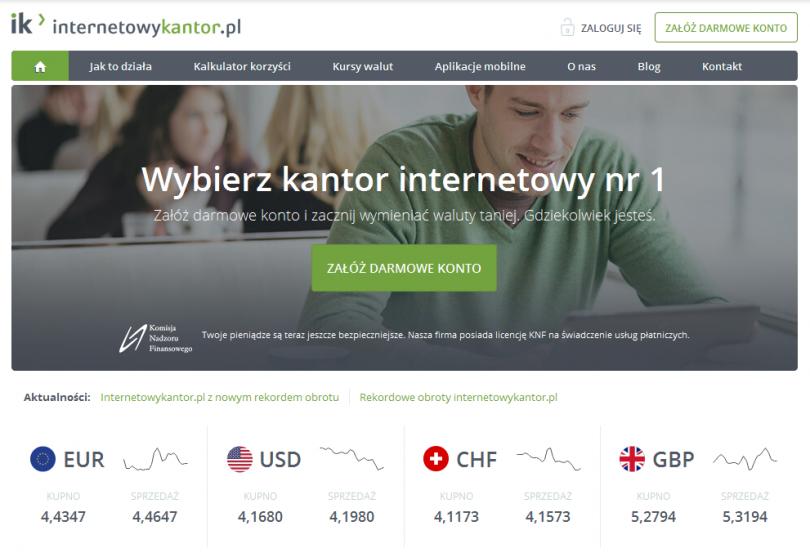 Internetowy Kantor - kontakt, opinie, informacje o kantorze online
