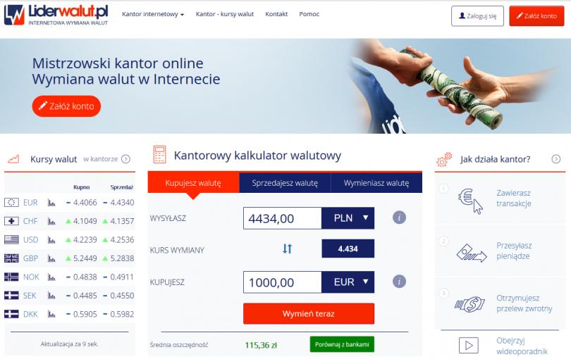 Liderwalut.pl - opinie, informacje kontaktowe kantoru internetowego, obsługiwane banki i waluty