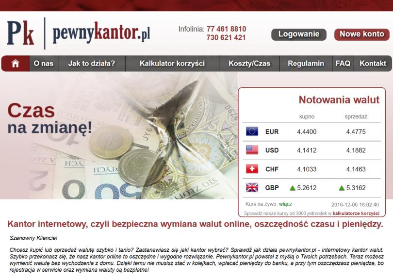 PewnyKantor - sprawdź informacje, kontakt, opinie o kantorze internetowym